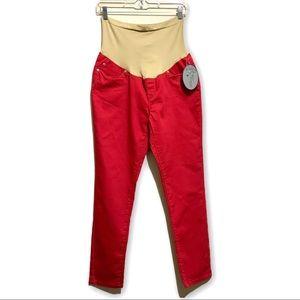 Planet Motherhood Maternity Red Skinny Pants Sz L
